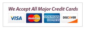We Accept All Mjor Credit Cards